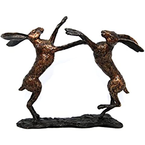 In bronzo massiccio fuso a caldo Boxing Hares