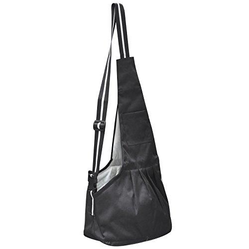 DIGIFLEX bequeme flexible schwarze Tragetasche Transporttasche Umhängetasche für kleine bis mittelgroße Hunde, Welpen und Katzen