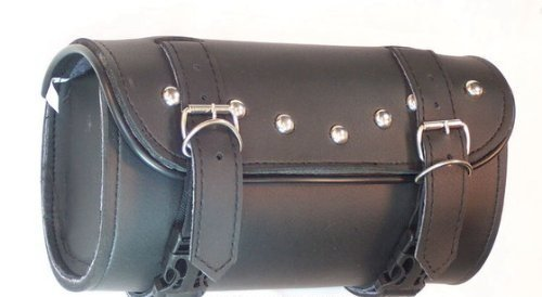 The Nekid Cow Motorcycle SISSY Bar Tool Bag with Studs HEAVY DUTY Premium Synthetic Black Leather 3 Layer w/QUICK Release Clasps - Handlebar, Forks, Pouch and QR Buckles - Includes BONUS Motorcycle Riding Guide by The Nekid Cow