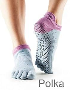 Toe sox - calzini antiscivolo toe sox con dita bassi - 3.8.ytoewtlrspolkas - modello con-dita---bassi - taglia small-36-38-5 - colore celeste-lilla