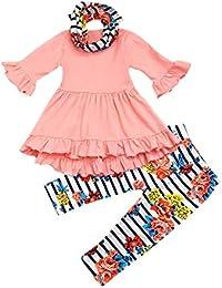 K-youth Ropa Niña Otoño Invierno Vestidos Bebé Niña Infantil Recien Nacido Vestido Niña Volantes Manga Larga Ropa Bebé Niña + Rayas Floral Pantalones Conjuntos 1-6 Años