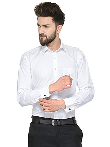SWISSCOTT Men's White 100% Cotton Slim Fit Shirts ( Free Cufflinks )...