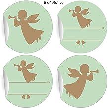 5x24 pegatinas de ángel retro para Navidad con trompetas ángeles, beige, con espacio para