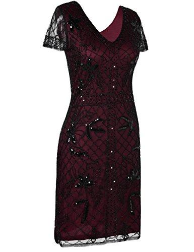Kayamiya Damen 1920er Jahre Gatsby Kleid Pailletten Perlen Cocktail Flapper Kleid mit Ärmeln Burgund