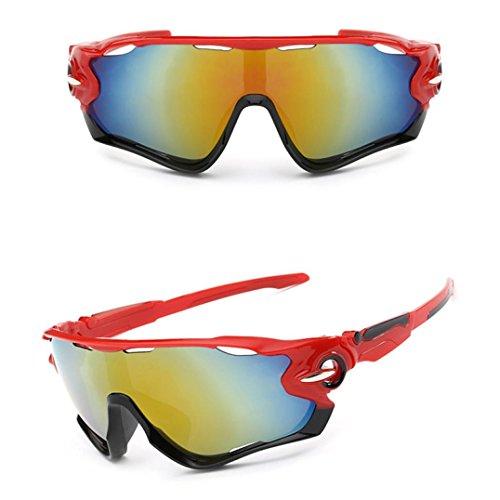 Binggong Sonnenbrillen UV400 Lens Sonnenbrille Reitbrille Outdoor Sport Mountainbike Brille Verspiegelt Fahrradbrille Schutz Superleichtes Rahmen für Laufen Radfahren (13.5*15*5.1 cm, Rot)
