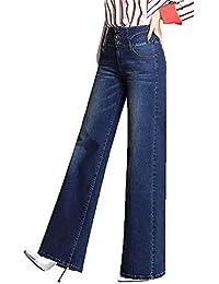 74f2d3216c367 QCHENG Femme Jeans Bootcut Taille Haute Push Up Evasée Jambe Large Pantalons  en Denim Confortable Casual