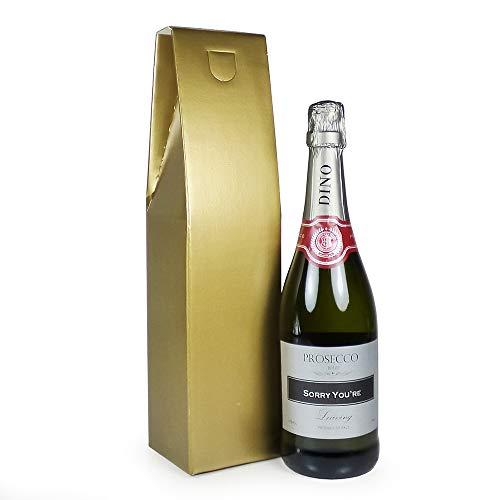 Personalised 750ml Fine Sparkling Prosecco White Wine with 'Sorry You're Leaving' on the Label in a Gold Gift Box - Gift Ideas for Retirement, Moving, New Job