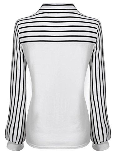 Donna manica lunga striscia camicie girocollo benda Blusa Moda Sottile shirts casual camicetta Maglietta tops Bianco