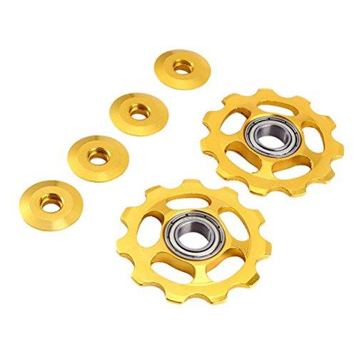 VORCOOL 2 Stücke Schaltröllchen Fahrrad Schaltwerk Riemenscheibe 11T Aluminium für Shimano (Gold) -