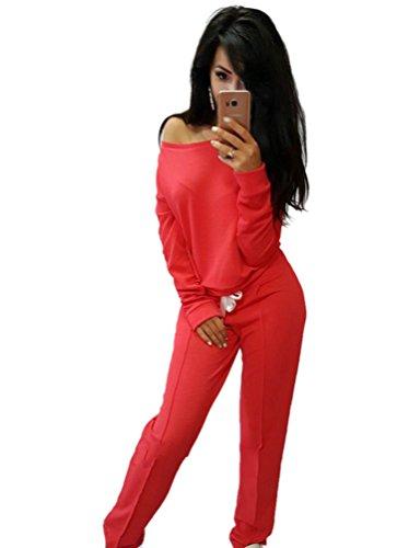 Baymate Damen Jogginganzug Langarm Anzug Pullover Sportanzug Trainingsanzug Sweatshirt mit Hose 2pcs (Anzüge Für Frauen)