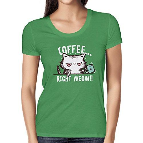 NERDO - Coffee right Meow - Damen T-Shirt, Größe S, grün (Mokka-grüner Tee)