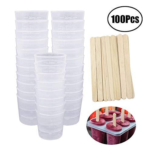 LEEQ 50 Stück 30 ml Kunststoffbecher mit abgestufter Skala und 50 Stück Holzrührstäbchen zum Mischen von Farbe, Flecken, Epoxid, Harz -