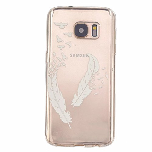 MUTOUREN Samsung Galaxy S7 case cover Ultra Slim Fitted TPU Rubber Gel Case flexible soft crystal clear, anti-shock anti-scratch durable-white feather