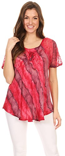 Sakkas Valencia Tie Dye Sheer Cap manches Agrémentée Drawstring Scoop Neck Top 5-Rose
