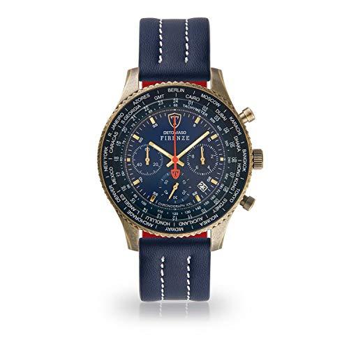 DETOMASO Firenze XXL Herren-Armbanduhr Chronograph Analog Quarz Antique Brass farbenes Edelstahlgehäuse blaues Zifferblatt (Leder - Blau (Naht: Weiß))