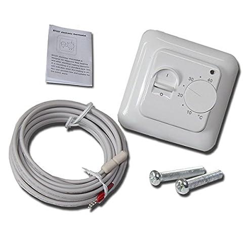Hengda® Thermostat elektrische Unterputz weiß #830 IP20 Fußbodenheizung Raumthermostat Unterputz