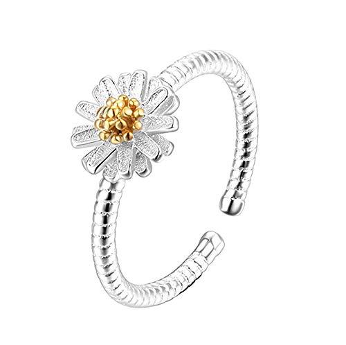 Fliyeong Open Ring Einfache Daisy Ringe Custome Ring für Geburtstagsgeschenk Party Frauen Mädchen Langlebig und Nützlich