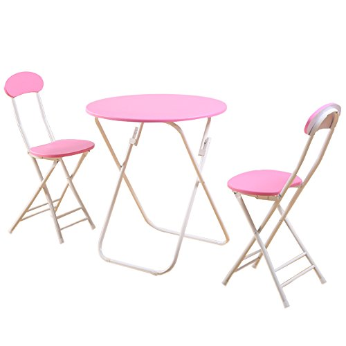 KTYXGKL Einfacher Klapptisch Tragbare Tabelle Stall Tisch Hause Tisch Kleine Wohnung Balkon Runden Tisch Und Stuhl-Set Klapptisch (Farbe :...