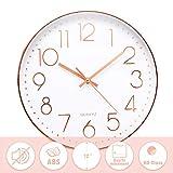 Jeteven® 30cm Rund Wanduhr Kinderuhr mit geräuscharmem Uhrwerk mit schleichender Sekunde groß Quarz-Wanduhr ohne Tickgeräusche modern für Wohn- /Schlaf- /...