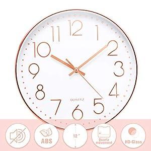 Jeteven® 30cm Rund Wanduhr Kinderuhr mit geräuscharmem Uhrwerk mit schleichender Sekunde groß Quarz-Wanduhr ohne…