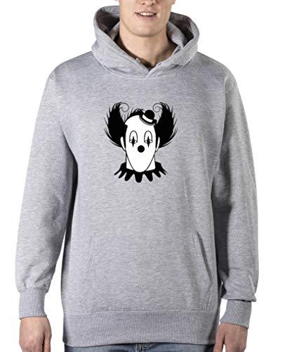 Comedy Shirts - Halloween Clown - Herren Hoodie - Grau/Schwarz-Weiss Gr. S