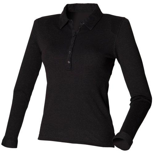 Skinni Fit Damen Polo Shirt Stretch Langarm (Medium) (Schwarz)