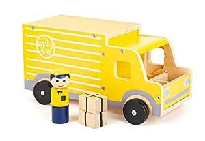 small foot company- Camión de Correos Grande, de Madera, con Figuras de Juego y Mucho Espacio para Guardar Paquetes, a Partir de 3 años Juguetes, (11458)