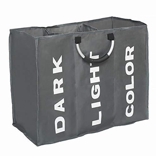 Storage bag large 3vano lavanderia pieghevole lavaggio biancheria sporca cesta con maniglie per bagno, camera da letto, grigio