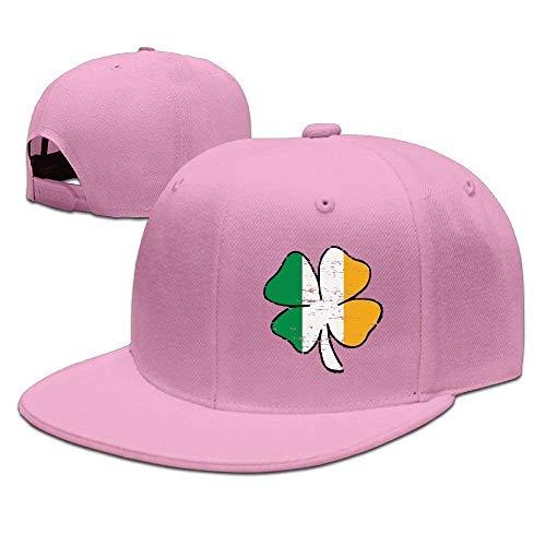 Unisex Trucker Caps,Irish Flag Shamrock Adjustable Hip Hop Flat Brim Baseball Hat Notre Dame Shamrock Green