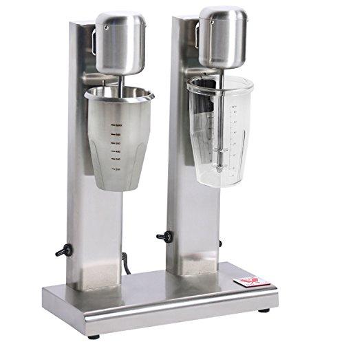 Beeketal \'BMS-2\' Profi Milchshaker Doppel Mixer mit 2 x 750 ml XL Bechern, 2 Stufen (10.000 oder 15.000 U/Min), Gastro Standmixer ideal für cremige Milkshakes, Eiweißshakes, Cocktails oder Smoothies