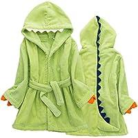 LIOOBO Niños Dinosaurio algodón paño Grueso y Suave Albornoz con Capucha Ropa de Dormir Toalla de