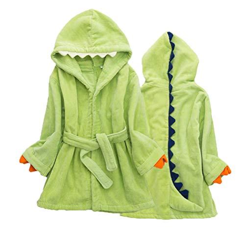 BESPORTBLE Kinder Dinosaurier Plüsch Bademantel Unisex Badetuch mit Kapuze aus Baumwolle