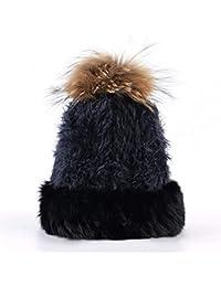 ERQINGM Sombrero De Punto Gorros De Punto Sombrero Mujer Otoño Invierno  Punto Color Sólido Sombreros Mullidos 4a10d6895bf