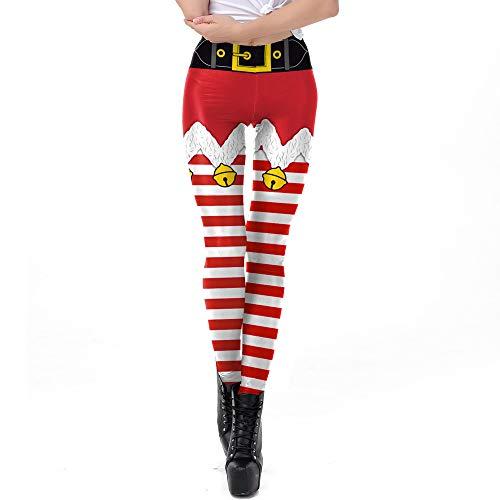 Yoga Hosen Damen,JiaMeng Weihnachtshosen Christmas Bell Stripe Print Hose mit hoher Taille und Bleistifthose Schwarzer Freitag Cyber Monday Geschenk