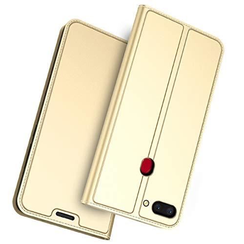 FugouSell Oppo Realme 2 Leder Hülle, Premium PU Leder etui Schutzhülle Tasche mit Kippständer, Slim Flip Case Cover für Oppo Realme 2(Golden)
