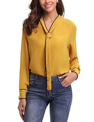 Abollria Damen Chiffon Bluse mit Schleife Elegante Schluppenblusen mit Kontrastnähte Langarm Business Shirt für Büro,Gelb,XL