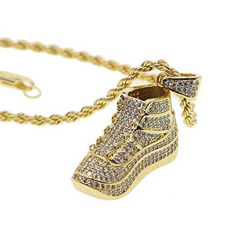 ZUXIANWANG Damen Halskette,Gold Hip Hop Schuhe Sport Lieben Cool Junge Männer Fußball Schuhe Anhänger Rock Hiphop Schmuck Halskette - Hip Hop Schuhe