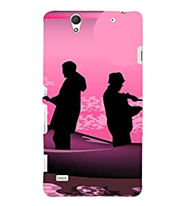printtech Abstract Fishing People Back Case Cover for Sony Xperia C4