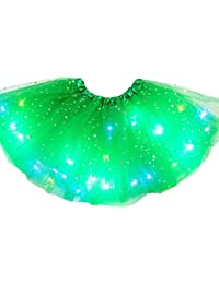 zhoujinf Falda tutú de tul para niñas con luces LED con purpurina y lentejuelas, para bailar, 3-12 años, para niños, niñas, cumpleaños, fiesta de princesas