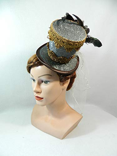 Midi Zylinder Damenhut braun beige Fascinator Domteur Zirkus Direktor Kostüm Burlesque Showgirl