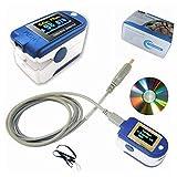 BLYL. Oxímetro de pulso de dedo CMS 50D+ USB OLED y monitor de frecuencia cardíaca con memoria de...
