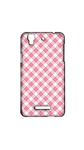 White Pink Check Pattern Designer Mobile Case/Cover For MICROMAX YUREKA