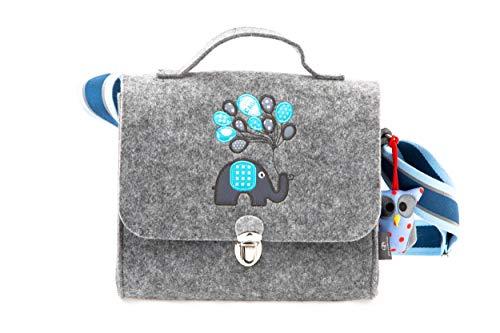 Kindergartentasche aus Filz von Stil-Macher | Elefant | -Weicher Filz- reflektierender Schultergurt für mehr Sicherheit - Filztasche...