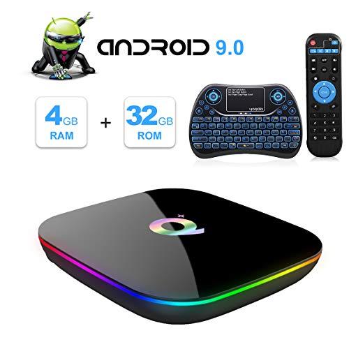 Q Plus Android 9.0 TV Box Mini Teclado inalámbrico
