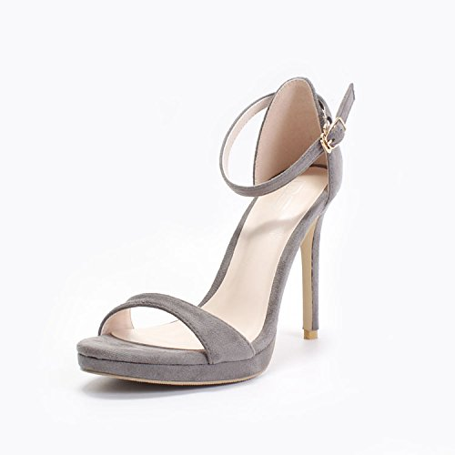Lgk & Fa Sandales Stiletto Sandales Tout En Pointe Fines Une Boucle Femme 35 Light Brown 38 Grey