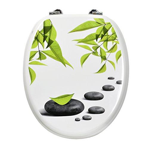 Carpemodo WC Deckel Holz, Weiß Grün, Kollektion Leaves