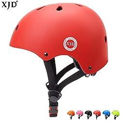 XJD Casque de Vélo pour Enfants Casque Réglable de Skateboard Anti-Choc Protection pour Cyclisme Skate Trottinette pour Filles Garçons 3-13 Ans (Rouge, S(48-54cm))