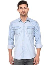 Lafantar Men's Double Pocket Denim Shirt - sms45g