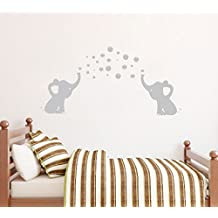 BDECOLL elefante burbujas guardería pared vinilo habitación de los niños soplando burbujas vinilo adhesivo decorativo para pared para la habitación del bebé Decor (gris)