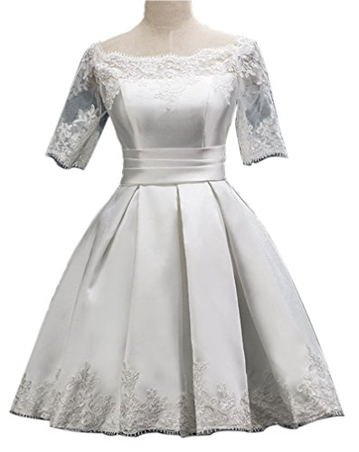 Eyekepper Robe Femme demoiselle dentelle bal fete courte robe de soiree Blanc